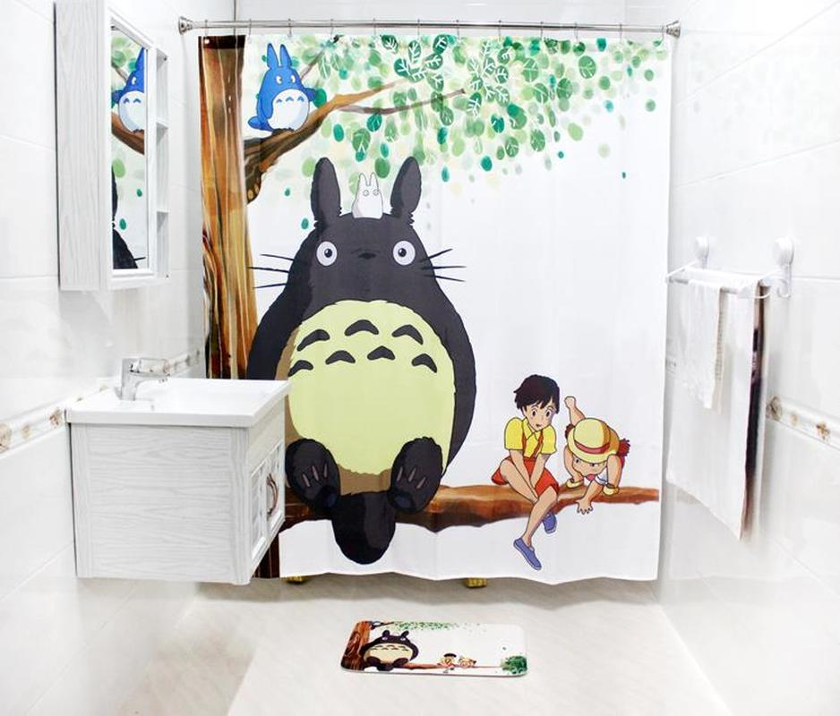 Cartoon Totoro Waterproof Mildew Polyester Shower Curtain Toilet Partition Curtain Bathroom Curtain with Hooks