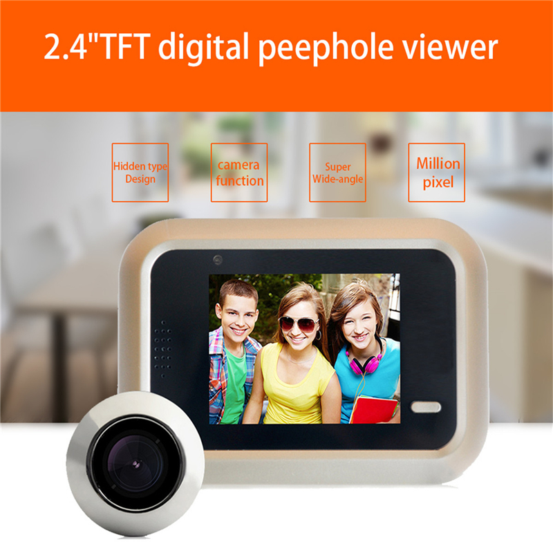 DANMINI 2.4 LCD Color Screen Digital Doorbell 160 Degree Peephole Viewer Door Eye Camera Video Record Mini Outdoor Color Camera цена