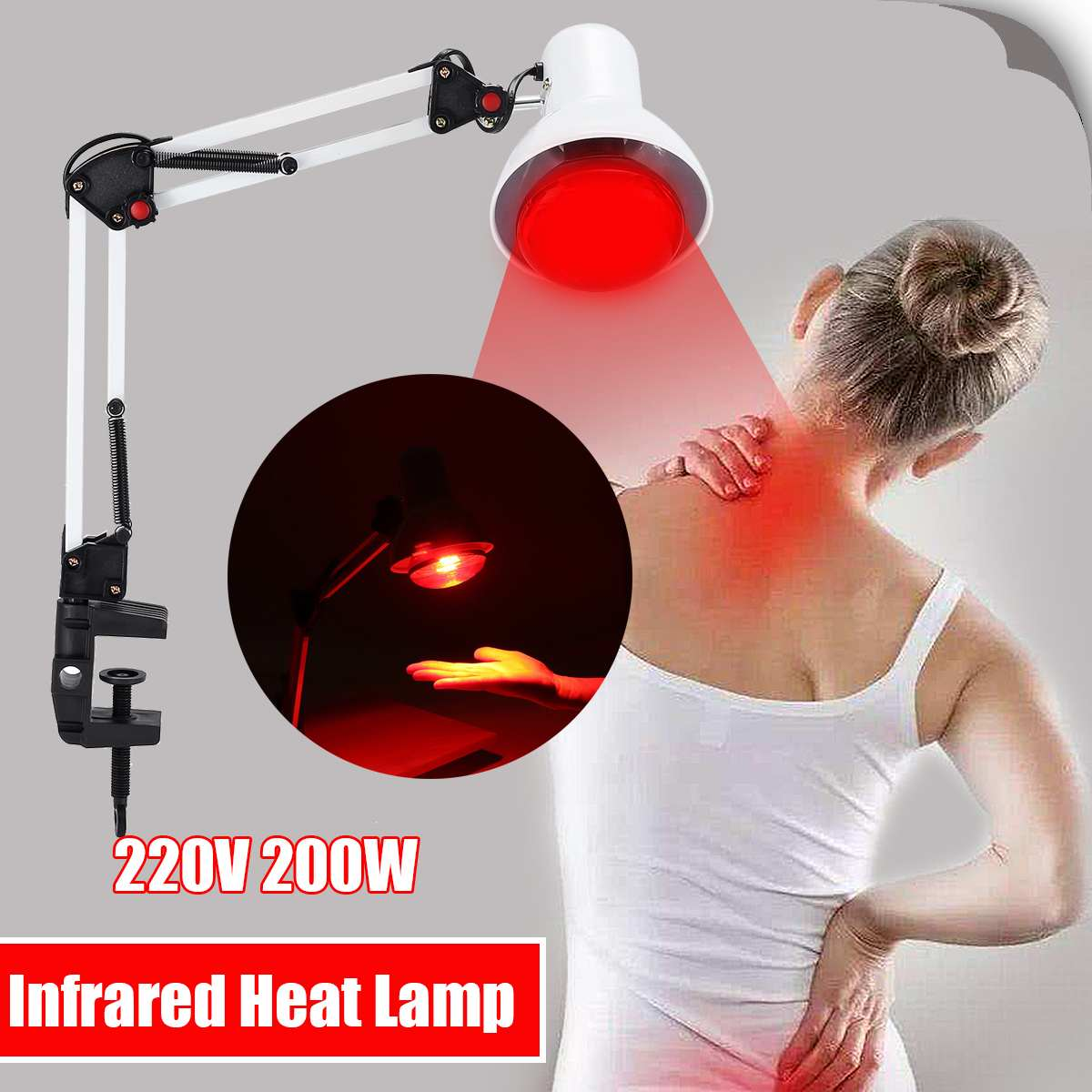 100W 220V Infrared Heat Lamp Night Lights Heating Therapy Light Therapeutic Pain Relief Health Bulb Physiotherapy Instrument