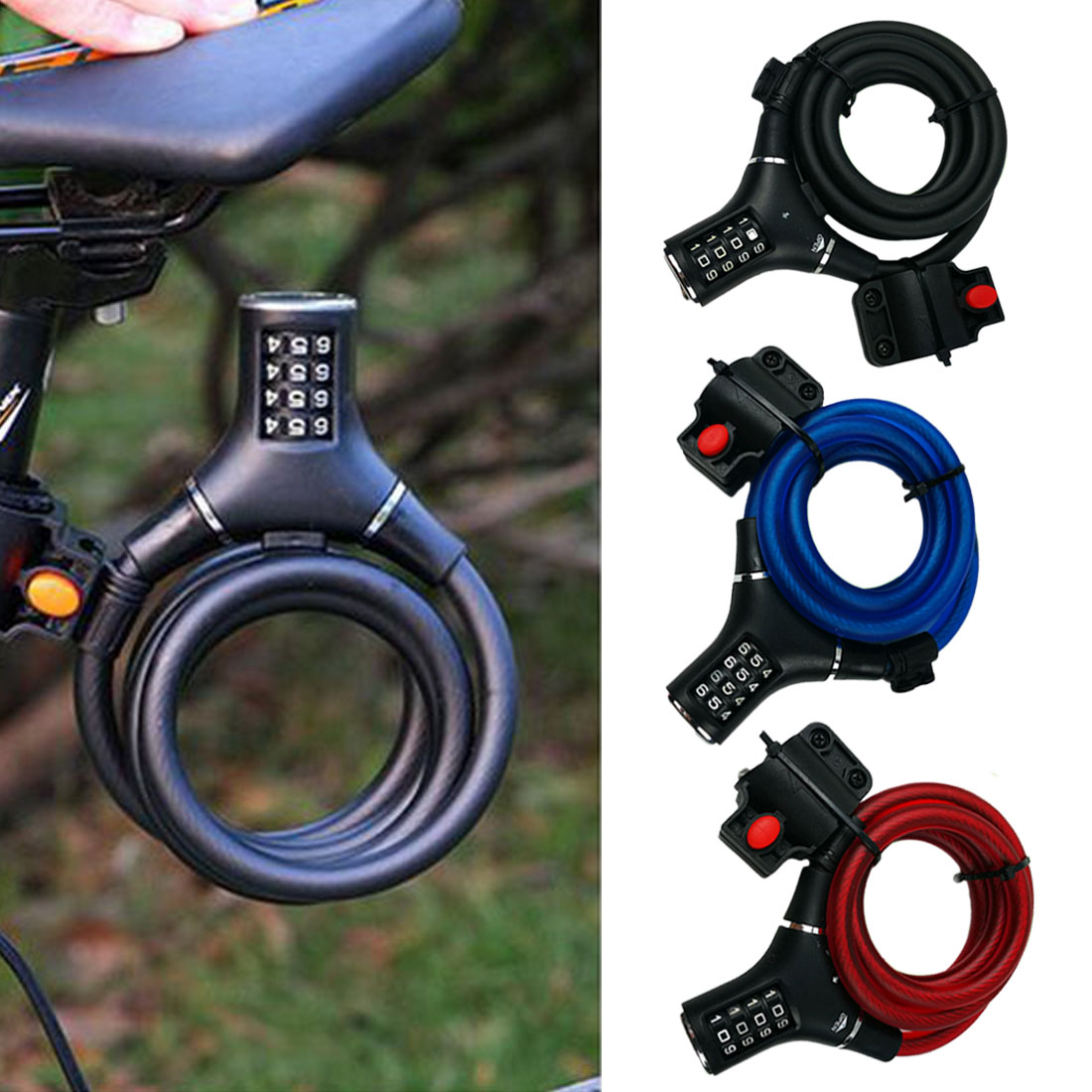 Four-digit Password Lock Motorcycle Locks Badminton Racket Lock Bicycle Wire Lock Battery Car Security Anti-theft Steel Cable