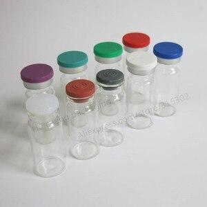 Image 2 - 500 × 10ミリリットルクリアアンバー注入ガラスバイアルとプラスチックアルミCap1/3オンス透明ガラスボトル10ccガラス容器