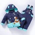 Winter Duck Down Coat Children Clothing Set Hooded Jacket Pants Jumpsuit Set Cartoon Pony Baby Girls Boys Snow Suit TZ123