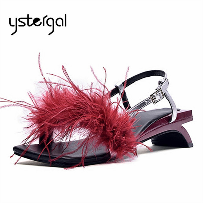 Ystergal 2019 New Feather Women Sandals Strange Heel Gladiator Sandal Summer Beach Shoes Woman Fur Low