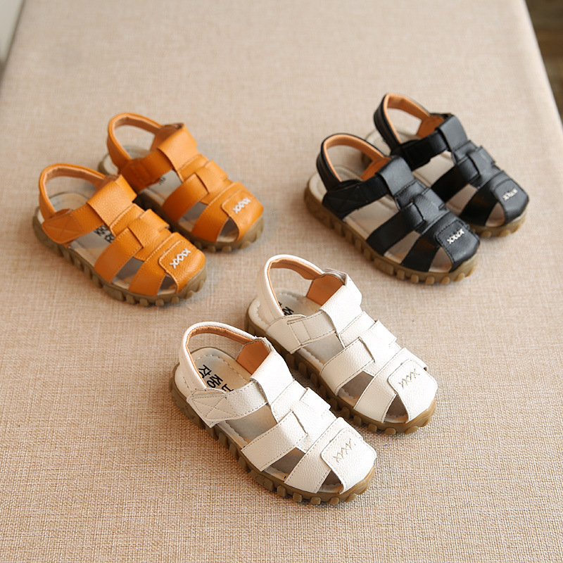 boys beach shoes 2018 100% spring and summer new leather men and women children beach shoes kids sandal kids shoes