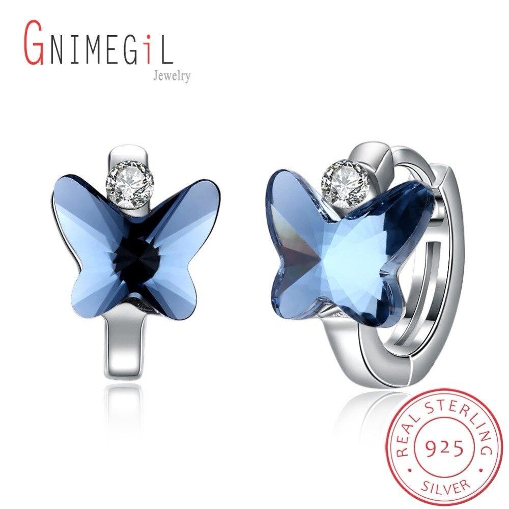 GNIMEGIL 925 Sterling Silver Big Blue crystal Butterfly Earrings Clip Earrings for Women Child Butterfly Ear clip earrings one piece graceful butterfly ear cuff for women