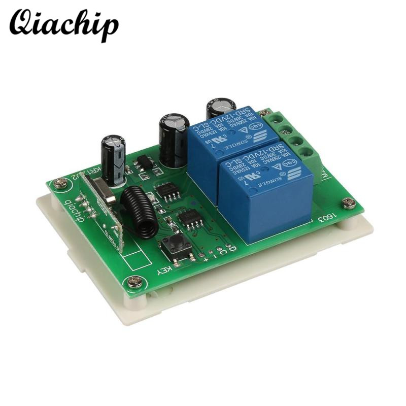 QIACHIP 433Mhz Wireless Remote Control Switch DC 12V 2CH Learning Buttons RF Relay Receiver For Smart Home Switch Module Diy dc 12v led display digital delay timer control switch module plc automation new