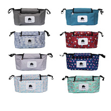 Print Strollers Child Trolley Bag with Removable Purse Multifunctional Child Stroller Organizer Pram Buggy Cart Hanging Bag XV2