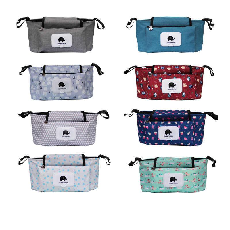Print Strollers Baby Trolley Bag with Detachable Handbag Multifunctional Baby Stroller Organizer Pram Buggy Cart Hanging Bag XV2