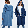 BringBring 2017 Spring and Autumn Plus Size Loose Denim Trench for Women Long Sleeve Coats Outwear  1791