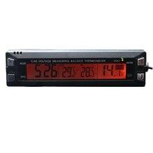 Cheap price 3 in 1 Car Digital Auto Thermometer Voltmeter Clock Volt Temperature Monitor 12V 24V Outdoor Indoor LCD Orange/Blue Backlight