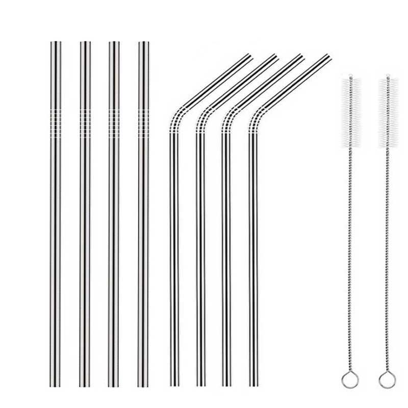 不锈钢吸管4个直管4弯2个刷子