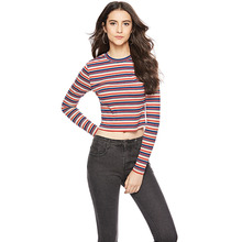 c91a1b210b ANSELF Women Cropped Striped Sweaters and Pullovers Ribbed Knitted Long  Sleeve Crop Top Autumn Sheath Stretchy