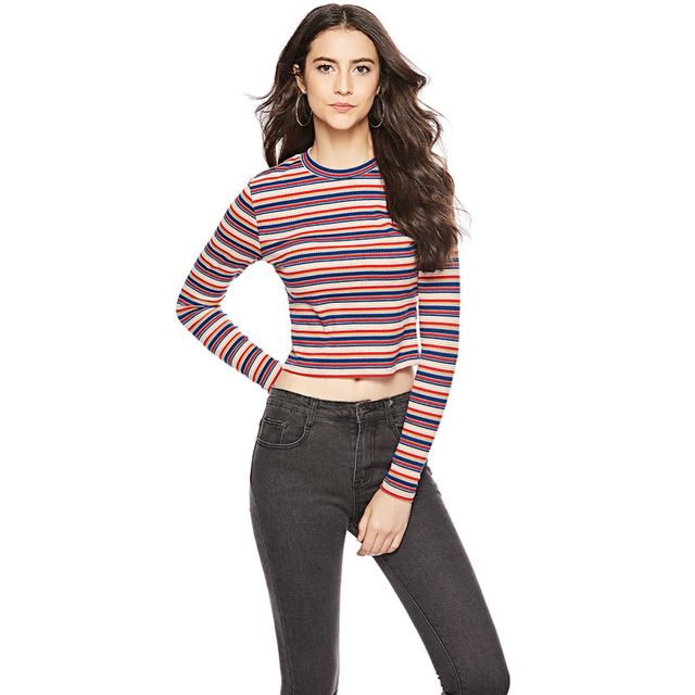 0c05a76390 ANSELF Women Cropped Striped Sweaters and Pullovers Ribbed Knitted Long  Sleeve Crop Top Autumn Sheath Stretchy