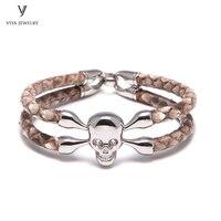 Натуральным Python браслет серебряный браслет черепа для Для мужчин известных брендов часы настроить Для мужчин s роскошные кожаные украшения