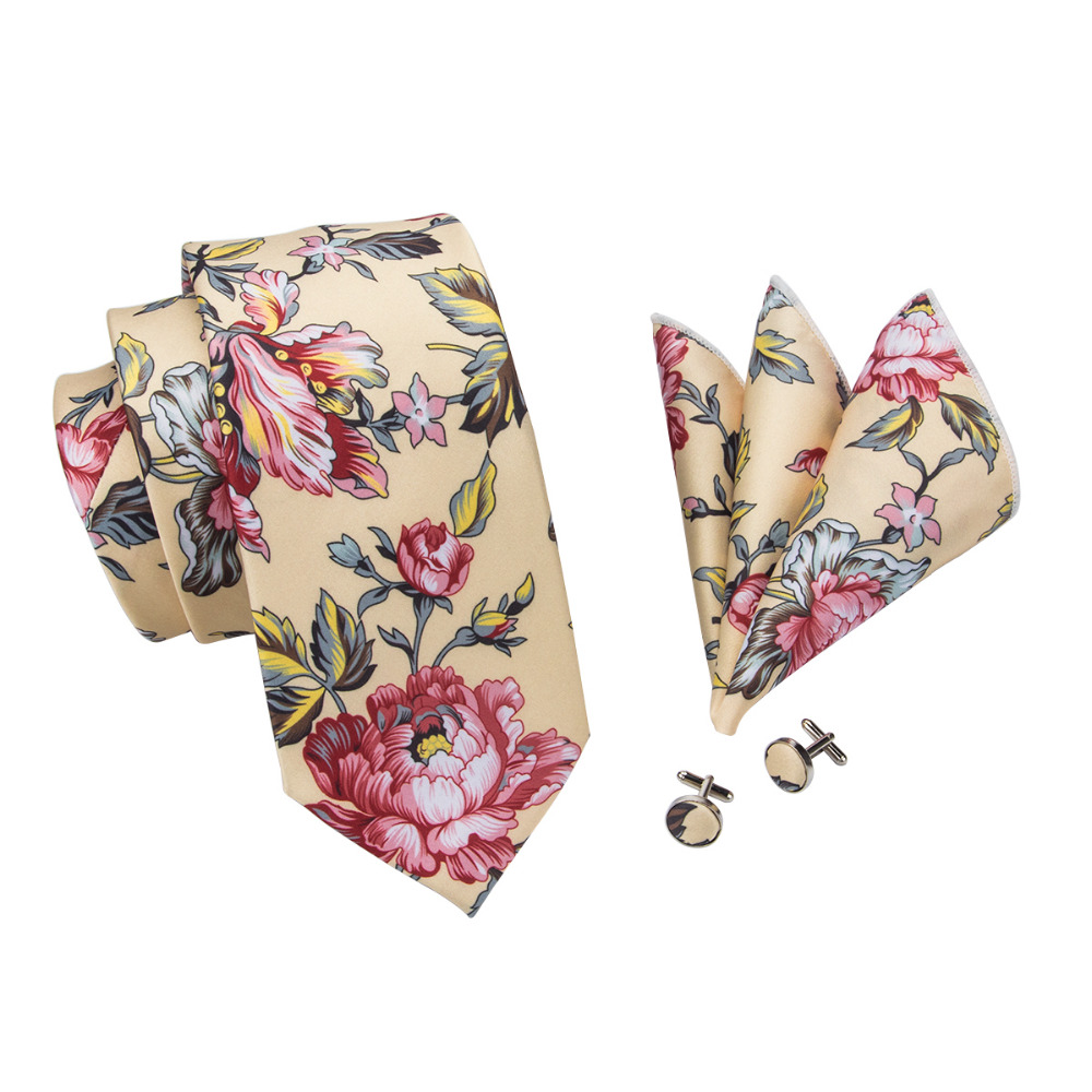 7b8e8579df75 C-1290 2017 New Brand Hi-Tie Print Tie Sets Yellow Floral Mens Ties Hanky  Cufflinks Gravatas Silk Neckties for Men Wedding Suits