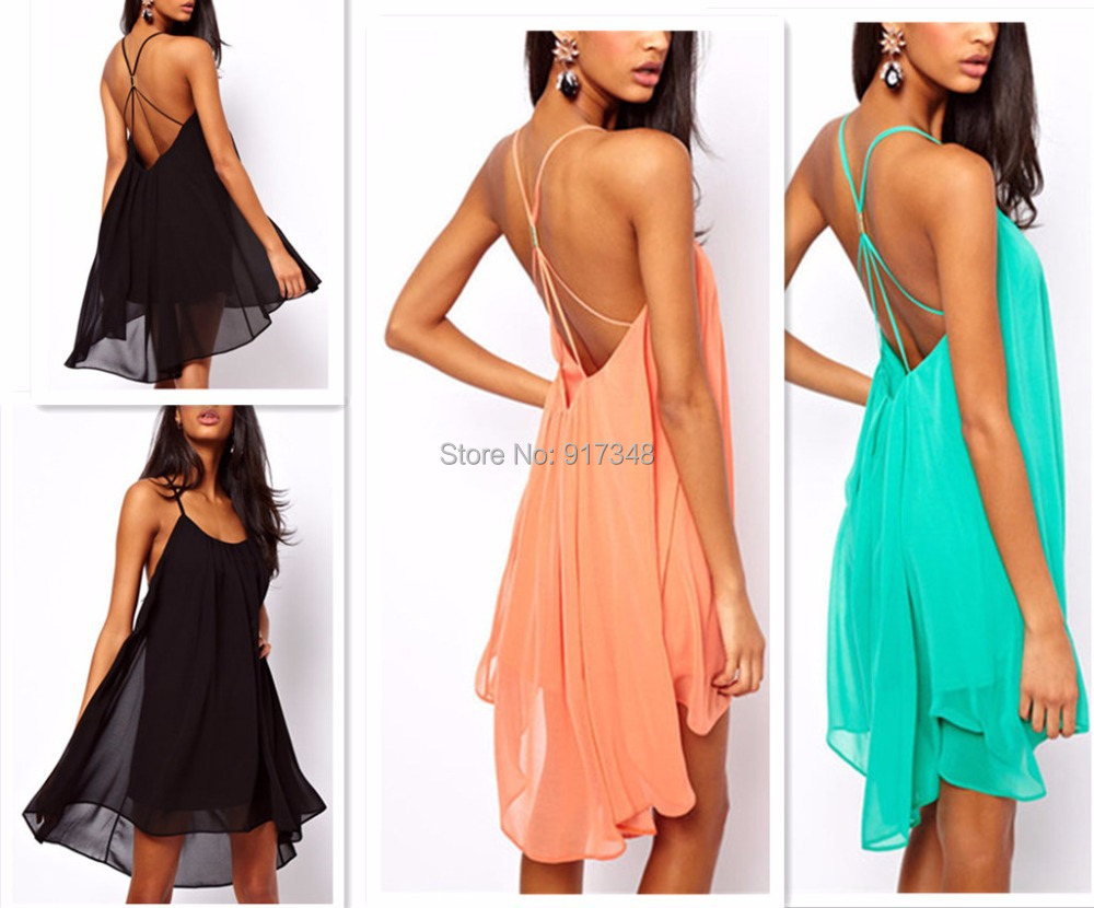 Women Beach Dress Sexy Sling Backless Dresses Short Mini Above Knee Swimwear