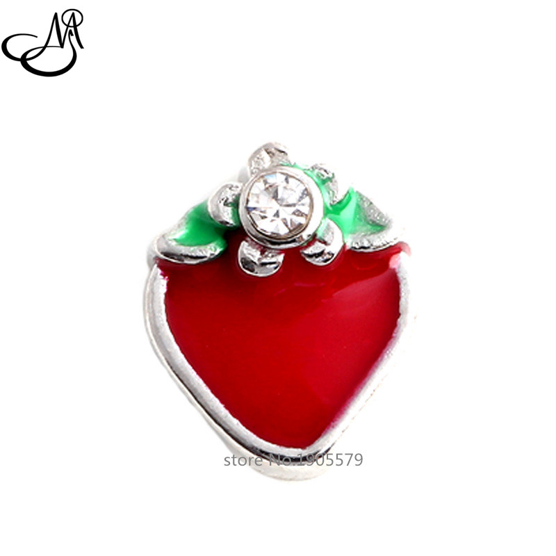 2015 Fashion DIY fruit Floating charms Enamel Strawberry Floating Locket Charms For Glass memory Locket MFC1979