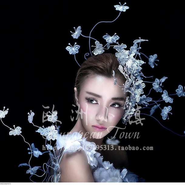 ФОТО White lace butterfly makeup modelling headdress catwalk runways exaggeration stage tire white dress accessories