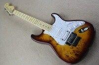 Top Quality China Custom Guitar ST Burl Pattern Natural Satinwood Body Maple Fingerboard Electric Guitar Floyd