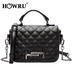 HOWRU Fashion Chains Shoulder Bag Women Soft PU Leather Diamond Plaid Handbags Elegant Ladies Crossbody Messenger Bags for Women