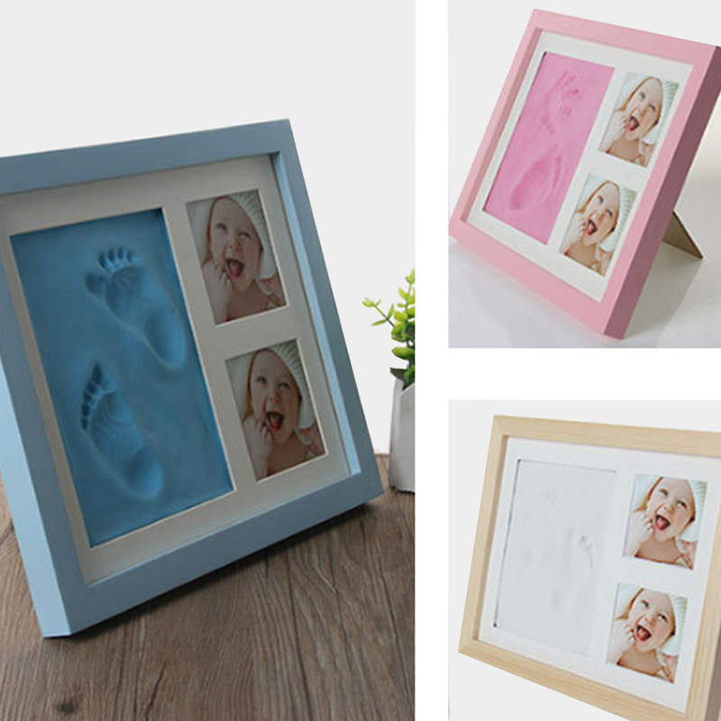 Baby hand and foot mold maker solid wood photo frame with cover fingerprint mud set B baby fun growth commemorative gift