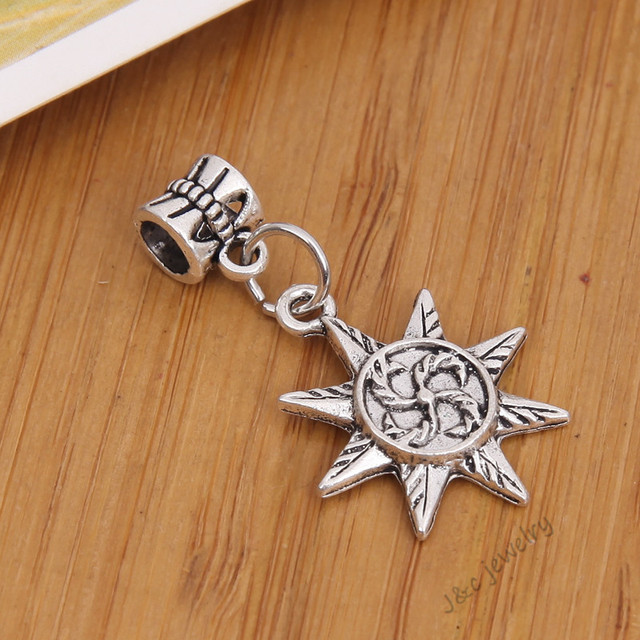 10 Pcs Vintage Tibetan Silver Hole Bead Fit Pandora Charm Bracelet Diy Sun Charms For