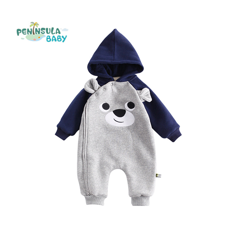 Autumn Winter Baby Rompers Cartoon Newborn Clothes Long Sleeve Coverall Hooded Baby Boy Girls Clothing Roupa Infant Jumpsuit warm thicken baby rompers long sleeve organic cotton autumn
