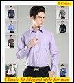 Xs-xxxxxxl ajuste clássico mens marca manga comprida camisa para homens 38 - 47 QR-1335 não ferro