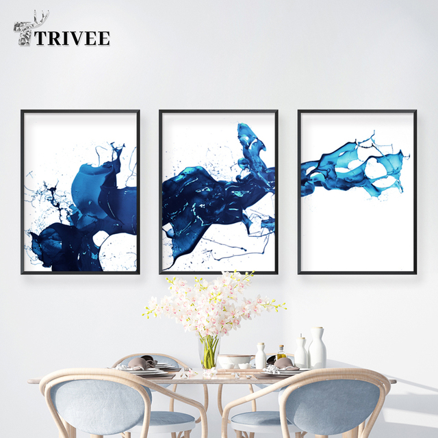 Blue Water Nordic Watercolor Printing Canvas Painting Abstract Picture Poster Wall Artwork For Living Room Bathroom Decorative