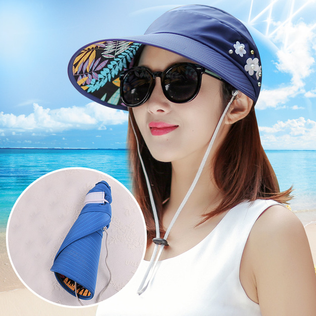 2e2011086ad New Sun Hats for women summer pearl packable sun visor hat with big heads  wide brim