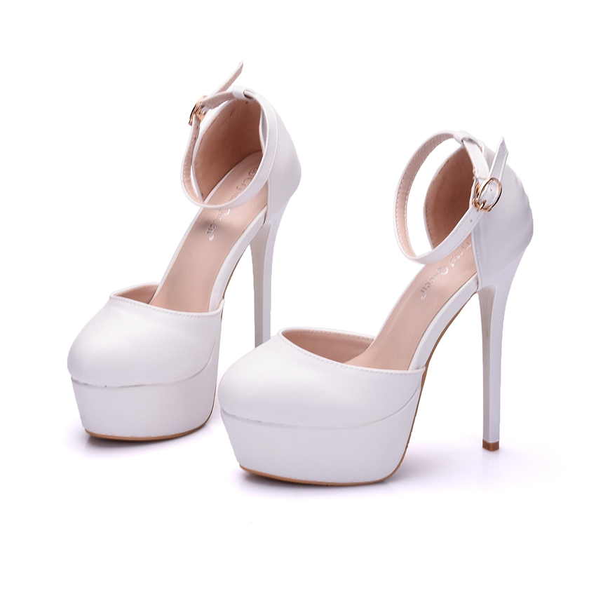 Crystal Queen thin heels platform shoes round toe platform high heels  wedding party high heel sandals 14cm heel shoes women-in Women s Pumps from  Shoes on ... b7f89637413a
