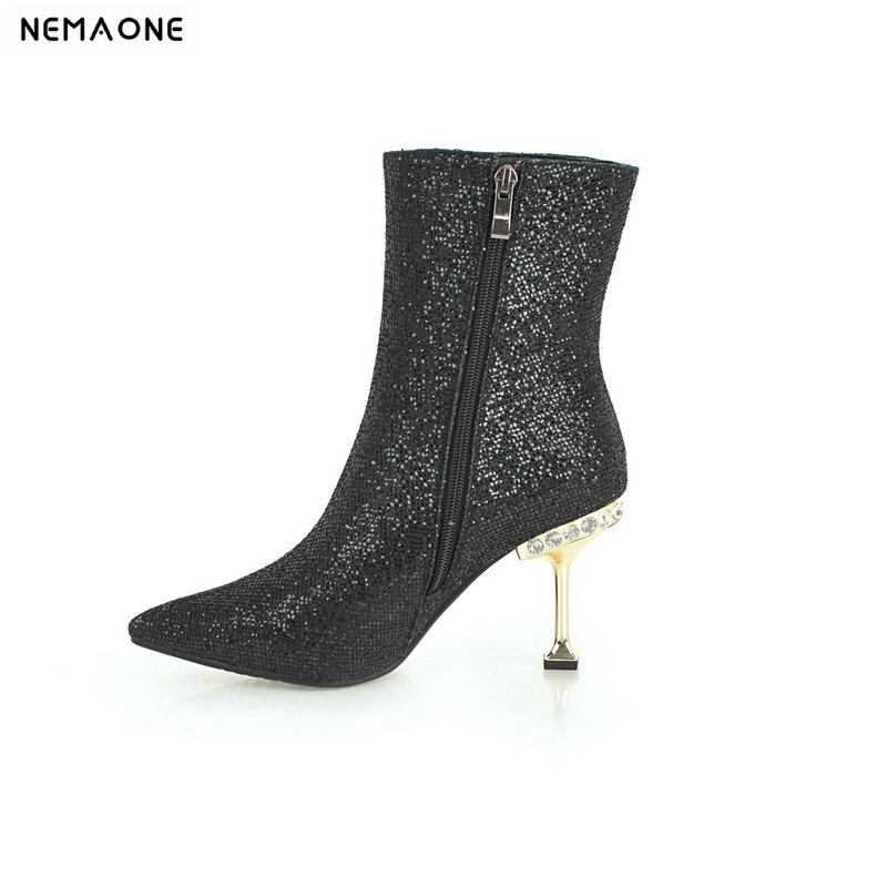 NEMAONE New women high heels ankle boots shiny bling winter ladies boots party dress wedding dancing shoes woman size 42 43NEMAONE New women high heels ankle boots shiny bling winter ladies boots party dress wedding dancing shoes woman size 42 43