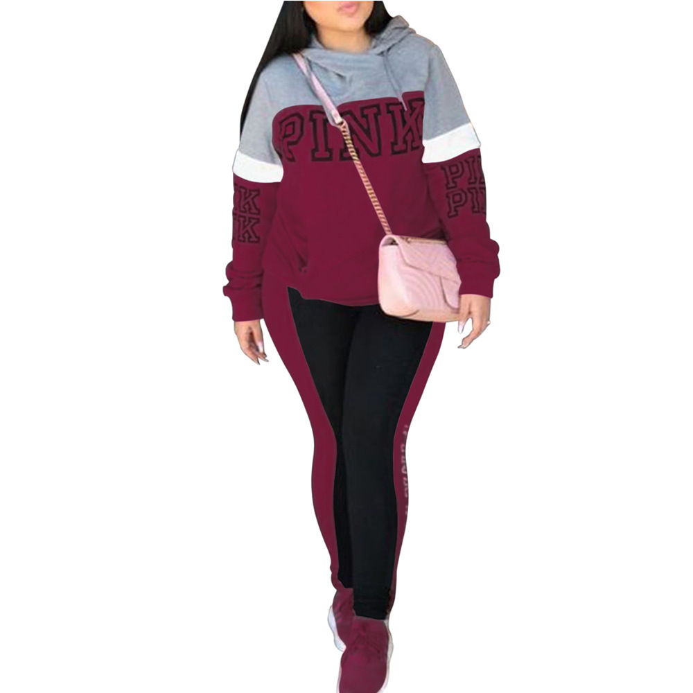 Pink Print 2 Piece Set Women Two Piece Sweatshirt Tracksuit Pant And Top Autumn XXXL Plus Size Casual Outfit Sexy Sweat Suits
