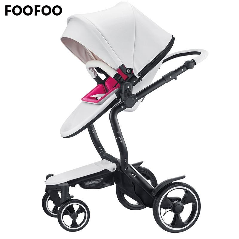 Foofoo de lujo de alto paisaje cochecito de bebé puede sentarse reclinable cochecito Cochecitos de bebé de dos vías doble verano y w inter
