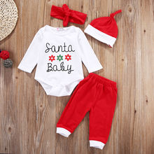Newborn Baby Boys Girls Christmas Clothes Tops Pants Hat 4PCS Outfits Set