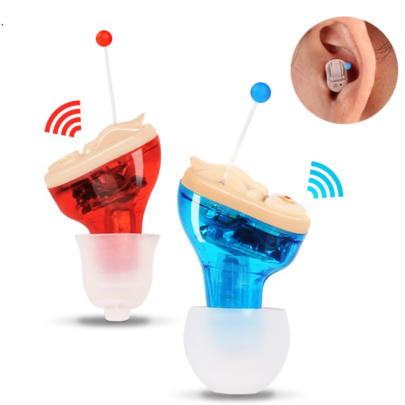 2018 Hot Sale New Design Red Blue Invisible Mini Ear Hearing Aid For the Elderly Gift