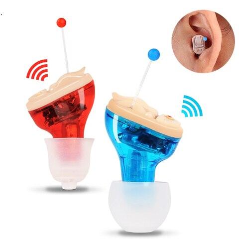 2018 venda quente novo design vermelho azul invis vel mini orelha aparelho auditivo para os