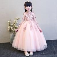 Elegant Pink Tulle Flower Girl Dress for Wedding Long Sleeve Appliques Kids Party Prom Dress First Communion Dresses Princess