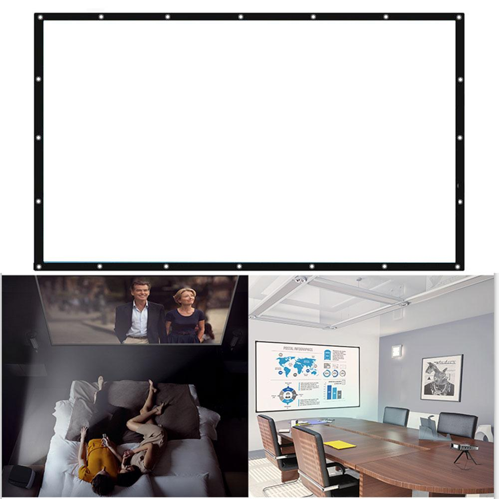 Foldable 16:9 Projector 60 72 84 100 120 150 inch White Projection Screen For HD Projector Home Theater Cinema Movies Party 8