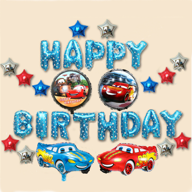 BOY Happy Birthday Ideas Lightning McQueen Party Background Wall Balloon Decoration Kids Car Theme Celebration