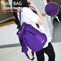 Estilo de moda de nylon sólida coreano meninas moda moderno colorido brilhante bonito diário mochilas jovens mulheres saco