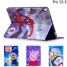Fashion Cartoon Minion Character Super hero PU Leather Stand Case Smart Cover For Ipad Pro 10.5