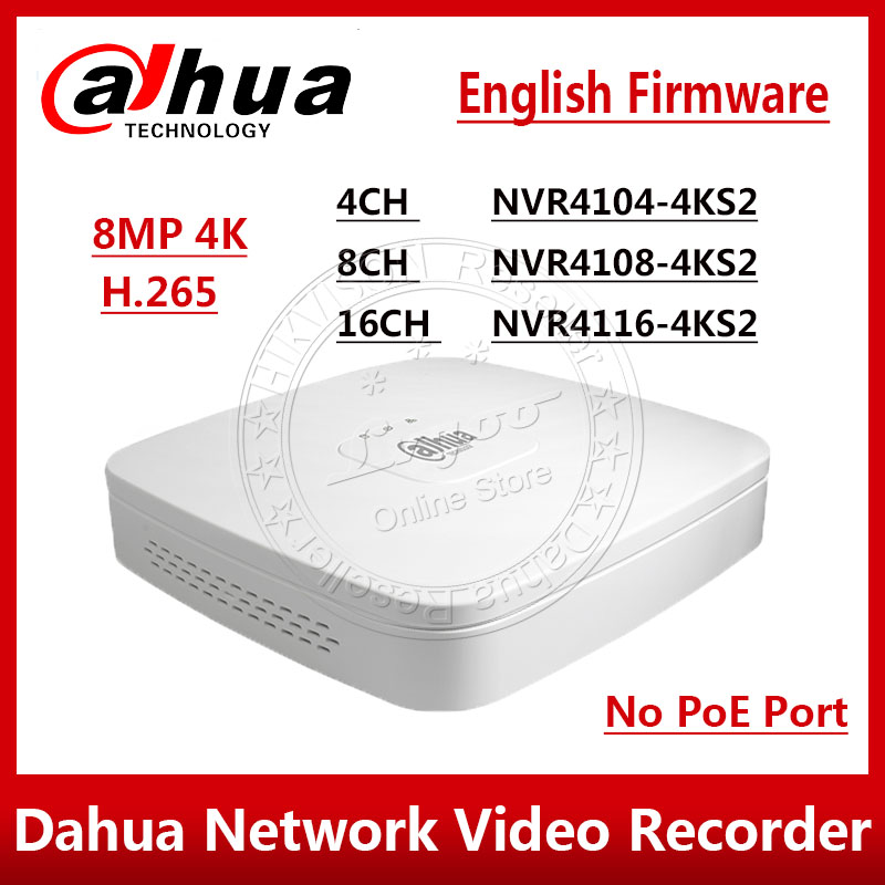 Dahua Original NVR4104 4KS2 NVR4108 4KS2 NVR4116 4KS2 4 8 16 Channel Smart 1U 4K H