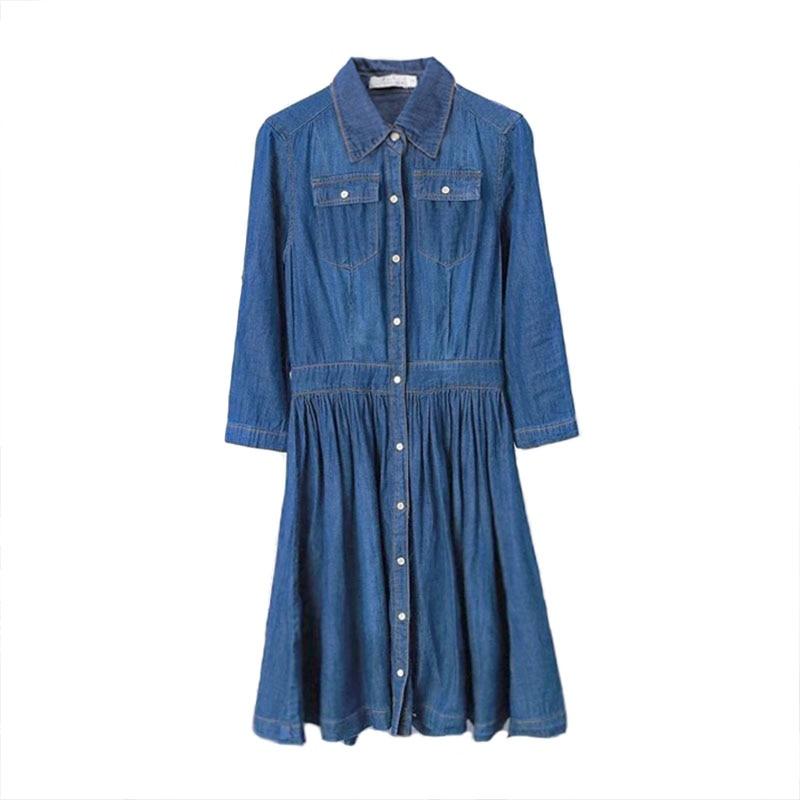 Podzimní oblečení dámské džínové košile šaty elegantní dámské tenké ležérní midi šaty na jaře plus velikosti šatů vestidos de calle