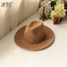 Classic Outdoor Casual travel Straw Hats For Women Wide Floppy Cross Jewelry Metal Chain Sun Men Hat Cotton Foldable Cowboy Caps