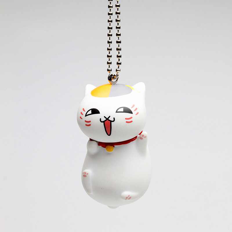 Anime Natsume Yuujinchou Nyanko Sensei Cat Vinyl Key Rings Action Figure Kids Toys Cute Keychain Women Key Cap new hot 16cm natsume yuujinchou cat nyanko sensei action figure toys collection christmas gift