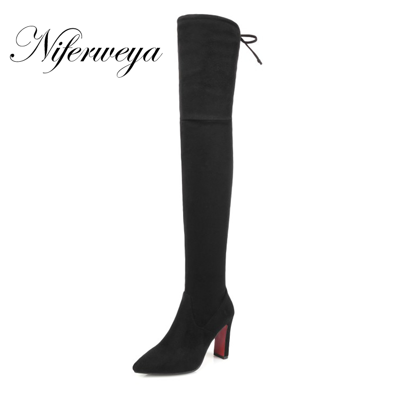Winter Women thigh high boots sexy Pointed Toe black suede high heels Big size 32-48 Slip-On Over-the-Knee boots botas tacticas 2017 winter new fashion women brown or white color square toe heels over the knee high thigh boots martin long boots big size 42