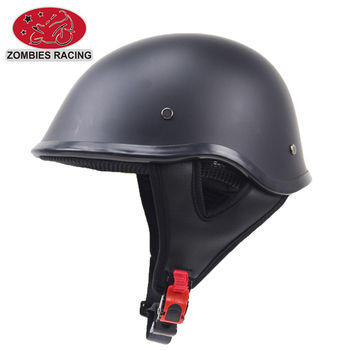 Mat black DOT approved half face style motorcycle helmet Half German helmet Cruiser helmet with removable ear pads