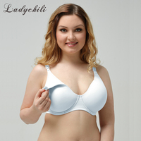 Ladychili Women Intimates Plus Size White Bra Cotton Liner Comfor Anti Droop With Underwire Thin Cup