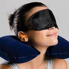 Free Shipping Travel Neck Air Cushion Pillow + eye mask + 2 Ear Plug [$1.5 OFF for second item]  free shipping r134a high grade refrigerant table automobile air conditioner